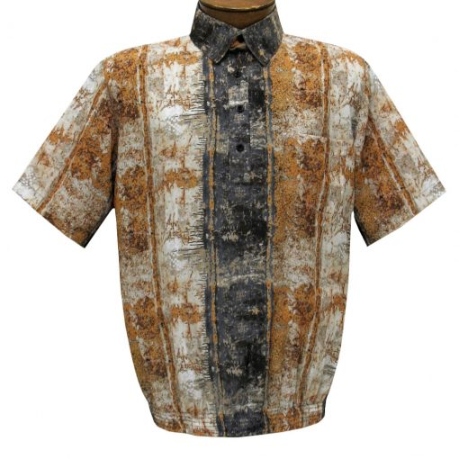 Men's Short Sleeve Banded Bottom Shirt By Bassiri, Our Exclusive 2020 Handpicked Designs, #39955 Beige