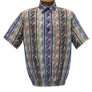 Men's Short Sleeve Microfiber Banded Bottom Shirt By Bassiri, Our Exclusive Handpicked Designs, #50025 Multi