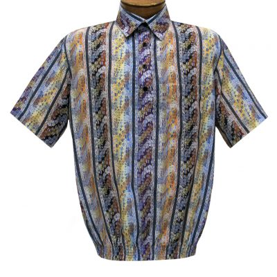 Men's Short Sleeve Banded Bottom Shirt By Bassiri, Our Exclusive 2020 Handpicked Designs, #50025 Multi