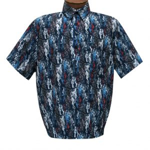 Men's Short Sleeve Microfiber Banded Bottom Shirt By Bassiri, Our Exclusive Handpicked Designs, #50285 Navy