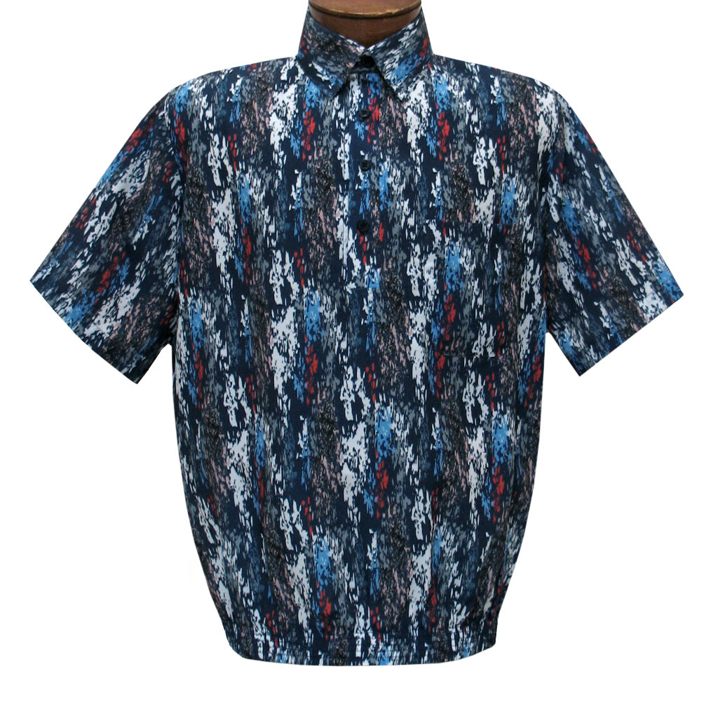 Men's Short Sleeve Banded Bottom Shirt By Bassiri, Our Exclusive 2020 Handpicked Designs, #50285 Navy