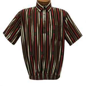 Men's Short Sleeve Microfiber Banded Bottom Shirt By Bassiri, Our Exclusive Handpicked Designs, #62775 Multi Stripe