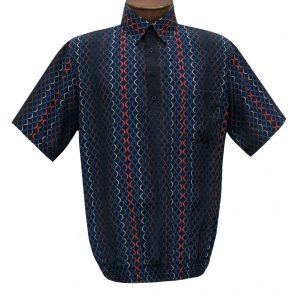 Men's Short Sleeve Microfiber Banded Bottom Shirt By Bassiri, Our Exclusive Handpicked Designs, #62805 Black