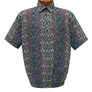 Men's Short Sleeve Microfiber Banded Bottom Shirt By Bassiri, Our Exclusive Handpicked Designs, #62855 Blue