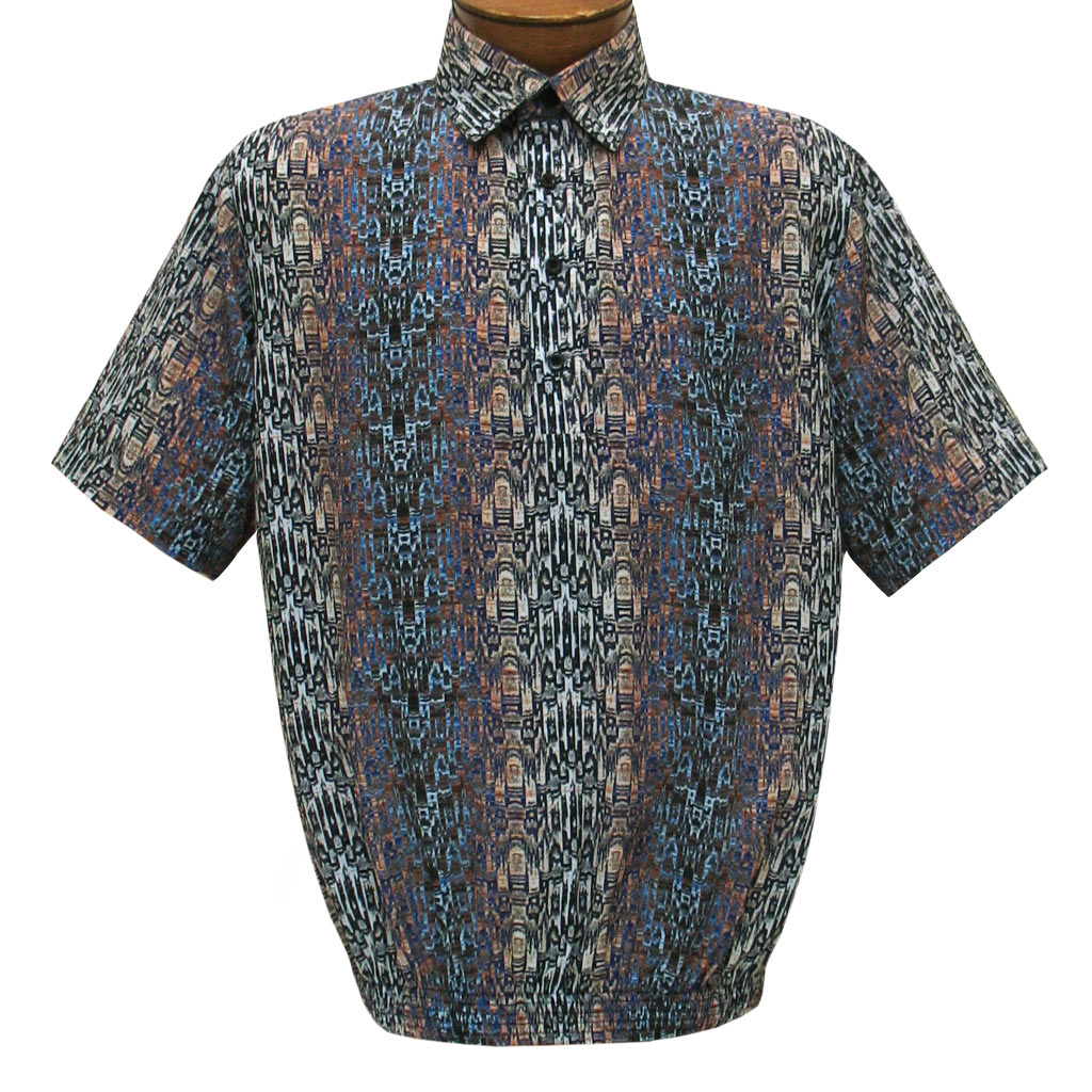 Men's Short Sleeve Banded Bottom Shirt By Bassiri, Our Exclusive 2020 Handpicked Designs, #62855 Blue
