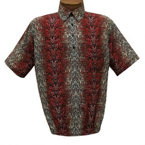 Men's Short Sleeve Microfiber Banded Bottom Shirt By Bassiri, Our Exclusive Handpicked Designs, #62865 Red