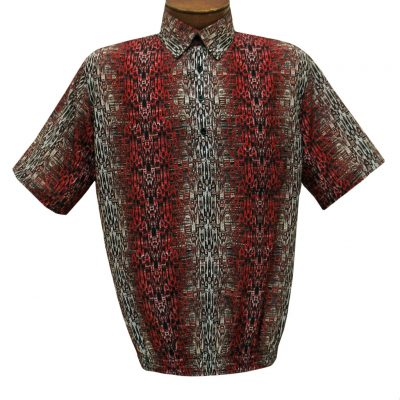 Men's Short Sleeve Banded Bottom Shirt By Bassiri, Our Exclusive Handpicked Designs, #62865 Red