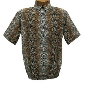 Men's Short Sleeve Microfiber Banded Bottom Shirt By Bassiri, Our Exclusive Handpicked Designs, #62885 Bronze