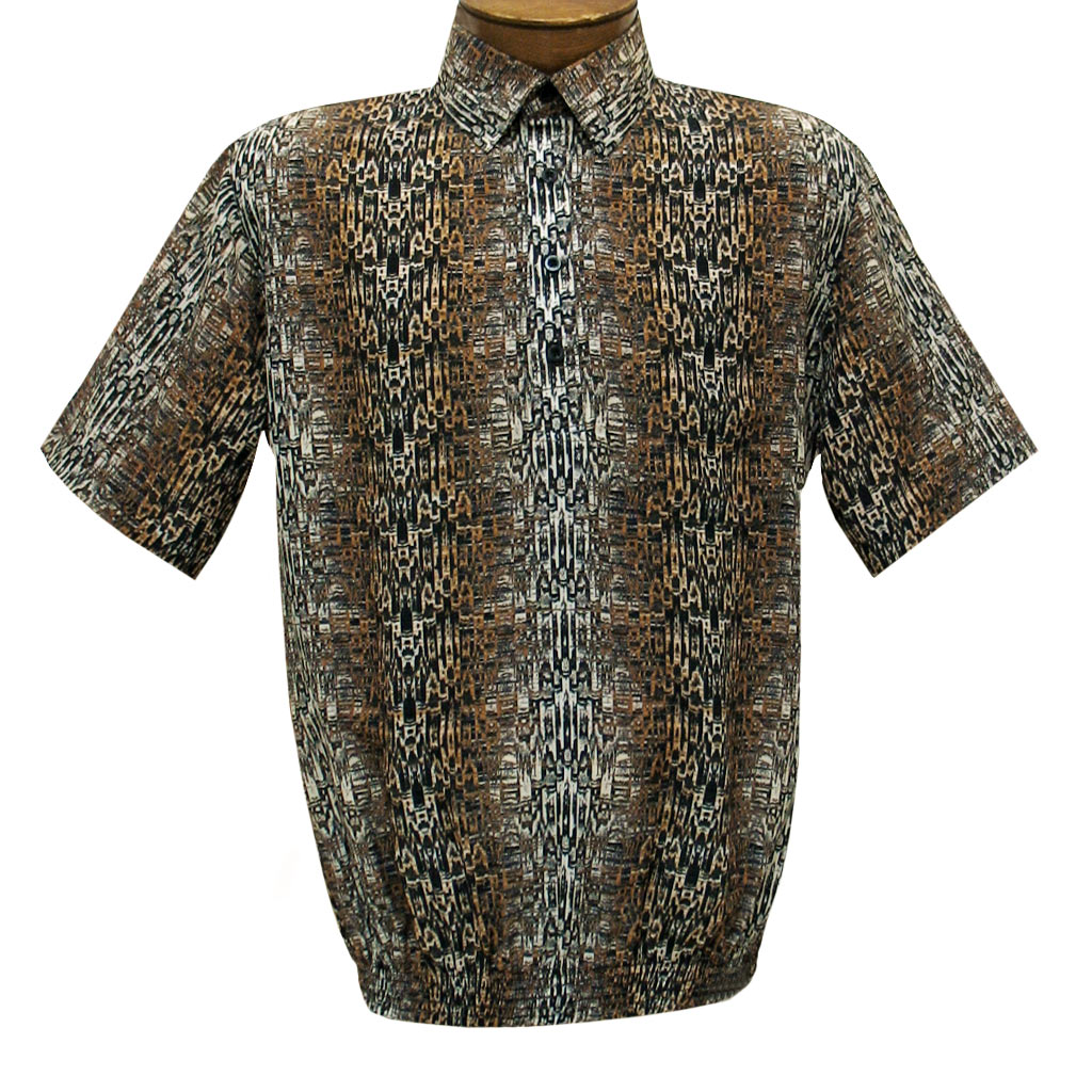 Men's Short Sleeve Banded Bottom Shirt By Bassiri, Our Exclusive 2020 Handpicked Designs, #62885 Bronze