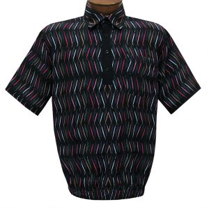 Men's Short Sleeve Microfiber Banded Bottom Shirt By Bassiri, Our Exclusive Handpicked Designs, #62955 Black