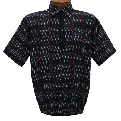Men's Short Sleeve Banded Bottom Shirt By Bassiri, Our Exclusive 2020 Handpicked Designs, #62955 Black
