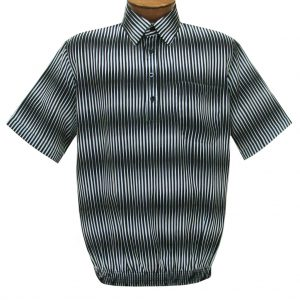 Men's Short Sleeve Microfiber Banded Bottom Shirt By Bassiri, Our Exclusive Handpicked Designs, #63055 Black