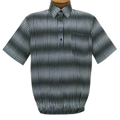 Men's Short Sleeve Banded Bottom Shirt By Bassiri, Our Exclusive Handpicked Designs, #63055 Black