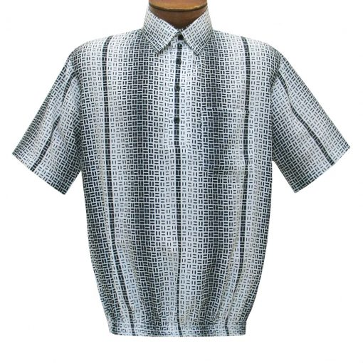 Men's Short Sleeve Banded Bottom Shirt By Bassiri, Our Exclusive 2020 Handpicked Designs, #63065 White