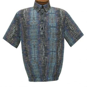 Men's Short Sleeve Microfiber Banded Bottom Shirt By Bassiri, Our Exclusive Handpicked Designs, #63125 Blue