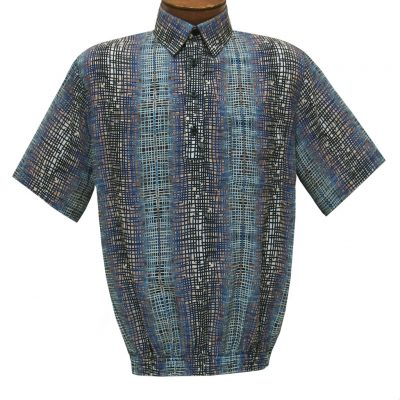 Men's Short Sleeve Banded Bottom Shirt By Bassiri, Our Exclusive 2020 Handpicked Designs, #63125 Blue