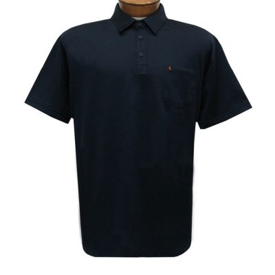 Men's Gabicci Polo Shirt, Short Sleeve Knit With Hard Collar, #Z05 Navy