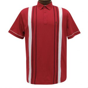Men's Gabicci Vintage Polo Short Sleeve Knit Shirt With Hard Collar, #X03 Lava