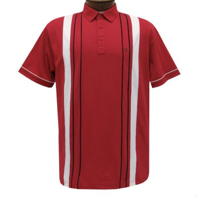 Men's Gabicci Vintage Polo Short Sleeve Knit Shirt With Hard Collar, #X03 Lava