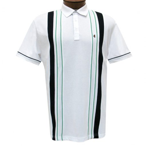Men's Gabicci Vintage Polo Short Sleeve Knit Shirt With Hard Collar, #X03 White