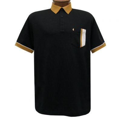 Men's Gabicci Vintage Polo Short Sleeve Knit Shirt With Hard Collar, #X11 Black