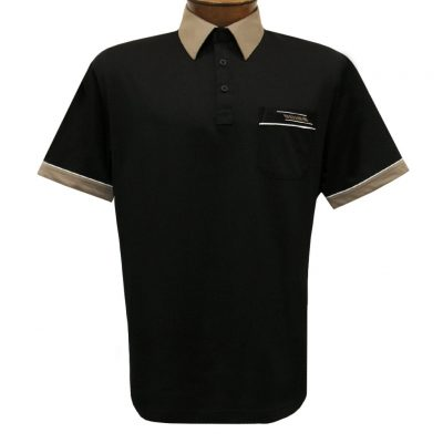 Men's Gabicci Vintage Polo Short Sleeve Knit Shirt With Hard Collar, #X62 Black