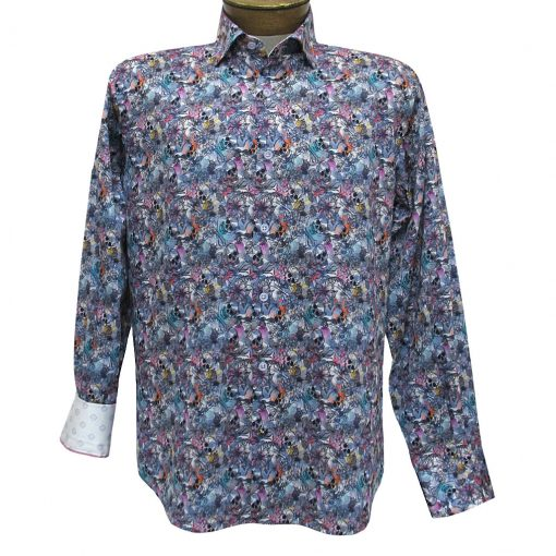 Men's Luchiano Visconti Sport Edition Floral Sculls Long Sleeve Sport Shirt #4280 Blue Multi