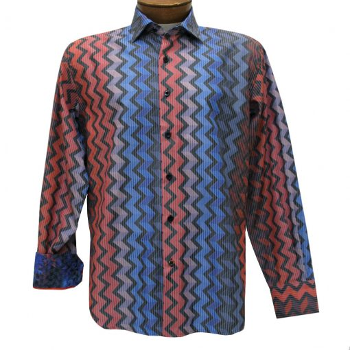 Men's Luchiano Visconti Sport Edition Zigzag Stripe Long Sleeve Sport Shirt #4283 Multi