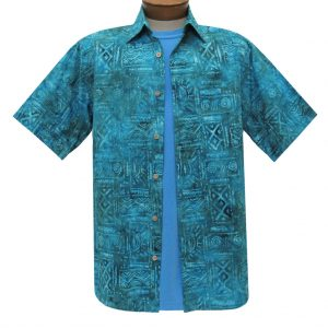 Men's Basic Options Batik Short Sleeve Cotton Shirt, #62041-3 Denim (L, ONLY!)