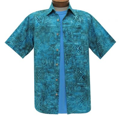 Men's Basic Options Batik Short Sleeve Cotton Shirt, #62041-3 Denim