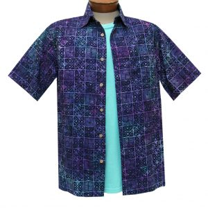 Men's Basic Options Batik Short Sleeve Cotton Shirt, #62042-3 Navy/Purple