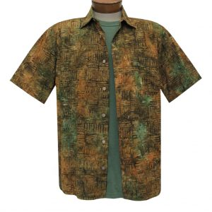 Men's Basic Options Batik Short Sleeve Cotton Shirt, #62044-4 Tan/Olive (L, ONLY!)