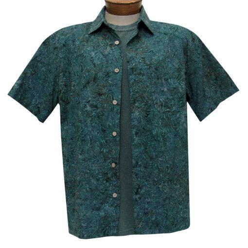 Men's Basic Options Batik Short Sleeve Cotton Shirt, #62047-4 Deep Turquoise