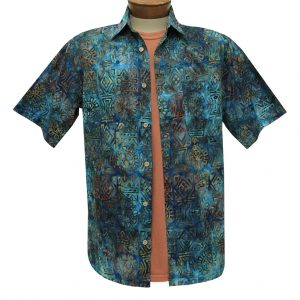 Men's Basic Options Batik Short Sleeve Cotton Shirt, #62051-3 Blue (L, ONLY!)