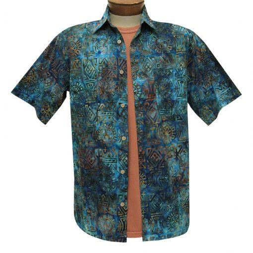 Men's Basic Options Batik Short Sleeve Cotton Shirt, #62051-3 Blue