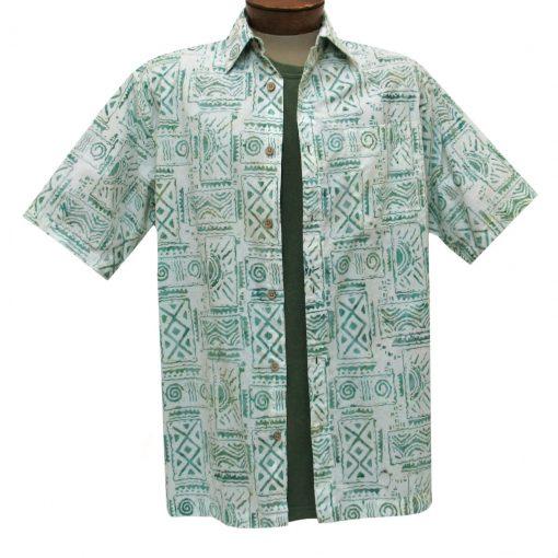 Men's Basic Options Batik Short Sleeve Cotton Shirt, #62053-3 Green