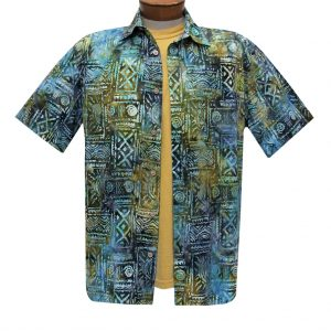Men's Basic Options Batik Short Sleeve Cotton Shirt, Island Tribal  #62048-4 Olive Multi (L, ONLY!)