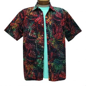Men's Basic Options Batik Short Sleeve Cotton Shirt, Leaves  #62040-1 Black Multi (L, ONLY!)