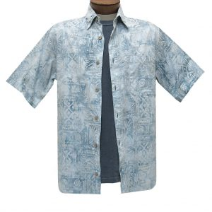 Men's Basic Options Batik Short Sleeve Cotton Shirt, Native Totem  #62053-2 Grey White (M, ONLY!)