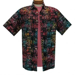 Men's Basic Options Batik Short Sleeve Cotton Shirt, Native Totem  #62053-1 Black Multi (M, ONLY!)