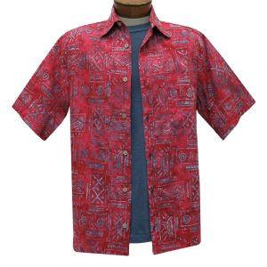 Men's Basic Options Batik Short Sleeve Cotton Shirt, Native Totem  #62053-5 Crimson