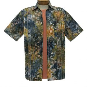 Men's Basic Options Batik Short Sleeve Cotton Shirt, Navy Stripe #62054-4 Deep Olive (L, ONLY!)