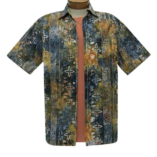 Men's Basic Options Batik Short Sleeve Cotton Shirt, Navy Stripe #62054-4 Deep Olive