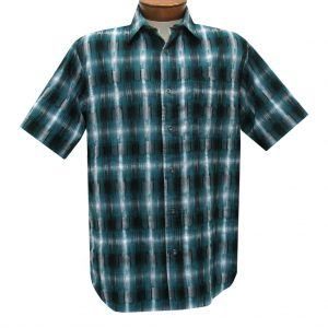 Men's Basic Options Short Sleeve Roadhouse Textured Button Front Sport Shirt,  #62030-4 Ocean Blue (XL, ONLY!)