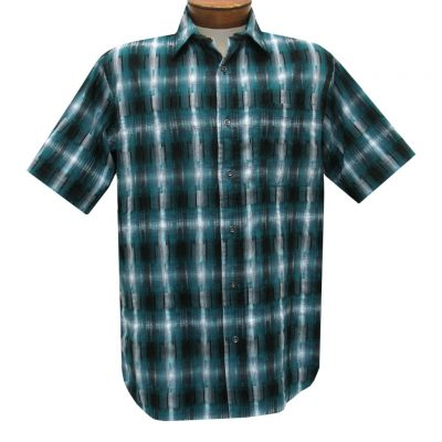 Men's Basic Options Short Sleeve Roadhouse Textured Button Front Sport Shirt, #62030-4 Ocean Blue