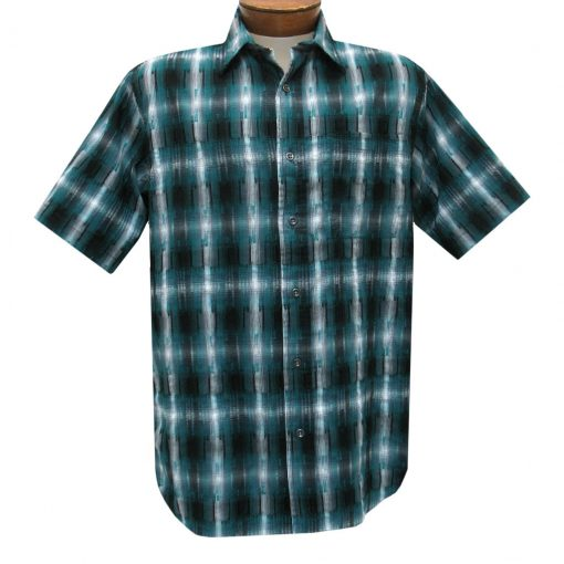 Men's Basic Options Short Sleeve Roadhouse Textured Button Front Sport Shirt, #62030-4 Ocean Blue
