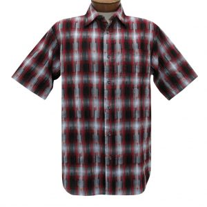 Men's Basic Options Short Sleeve Roadhouse Textured Button Front Sport Shirt,  #62030-5 Crimson