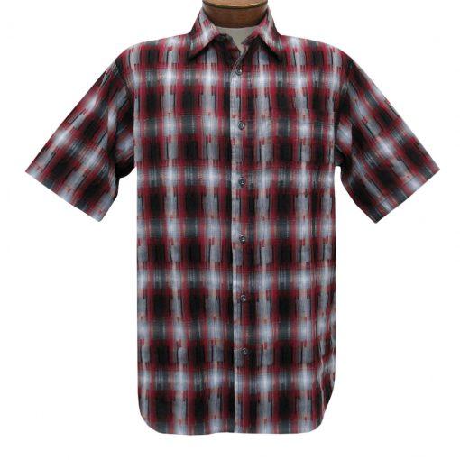 Men's Basic Options Short Sleeve Roadhouse Textured Button Front Sport Shirt, #62030-5 Crimson