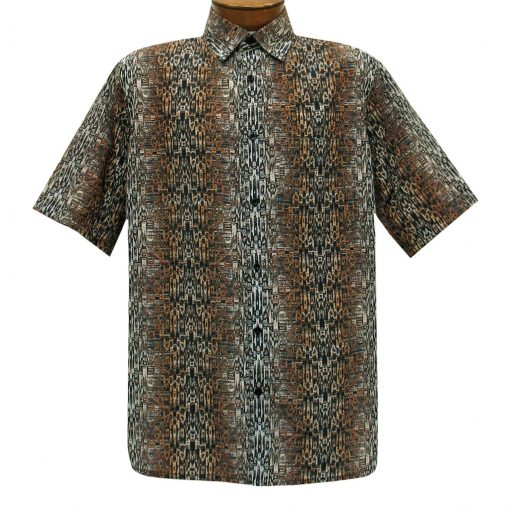 Men's Bassiri Short Sleeve Button Front Microfiber Sport Shirt With A Pocket #62881 Bronze