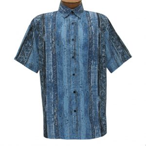 Men's Bassiri Short Sleeve Button Front Microfiber Sport Shirt With A Pocket #63371 Blue